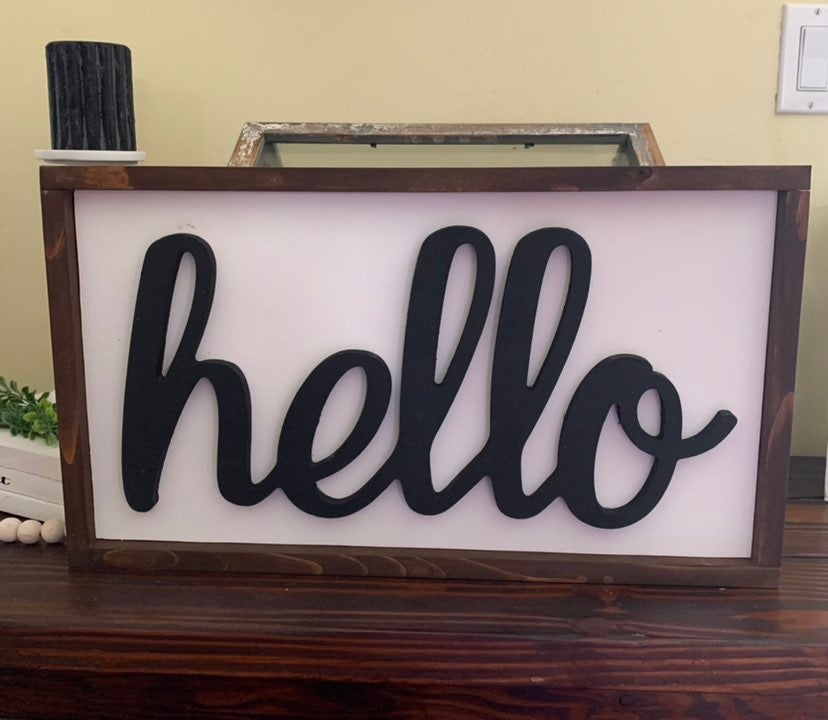3D Hello wood sign
