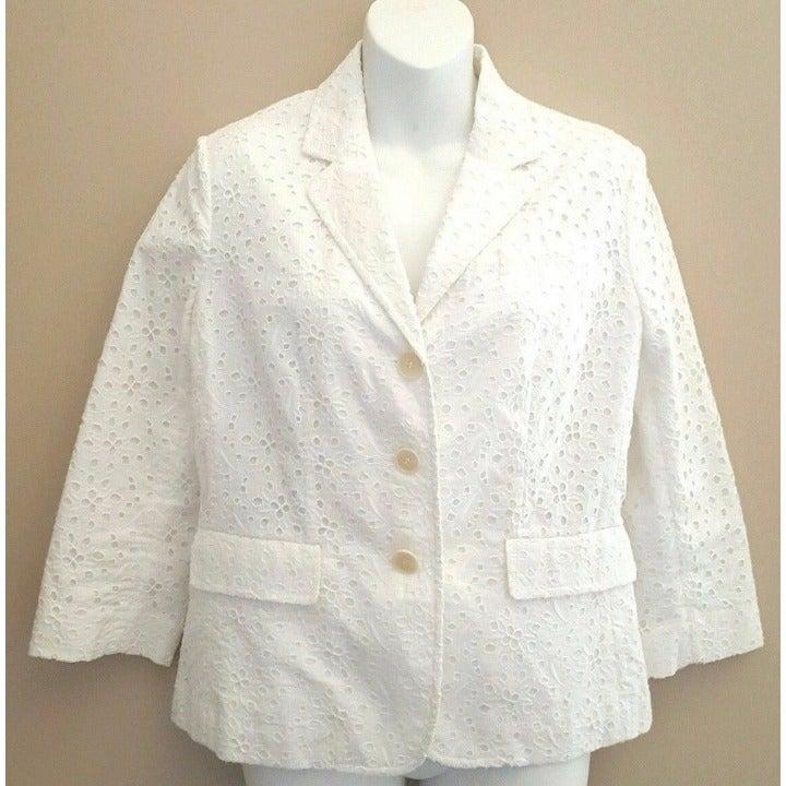 TALBOTS Blazer Jacket SIZE 6 White Eyele