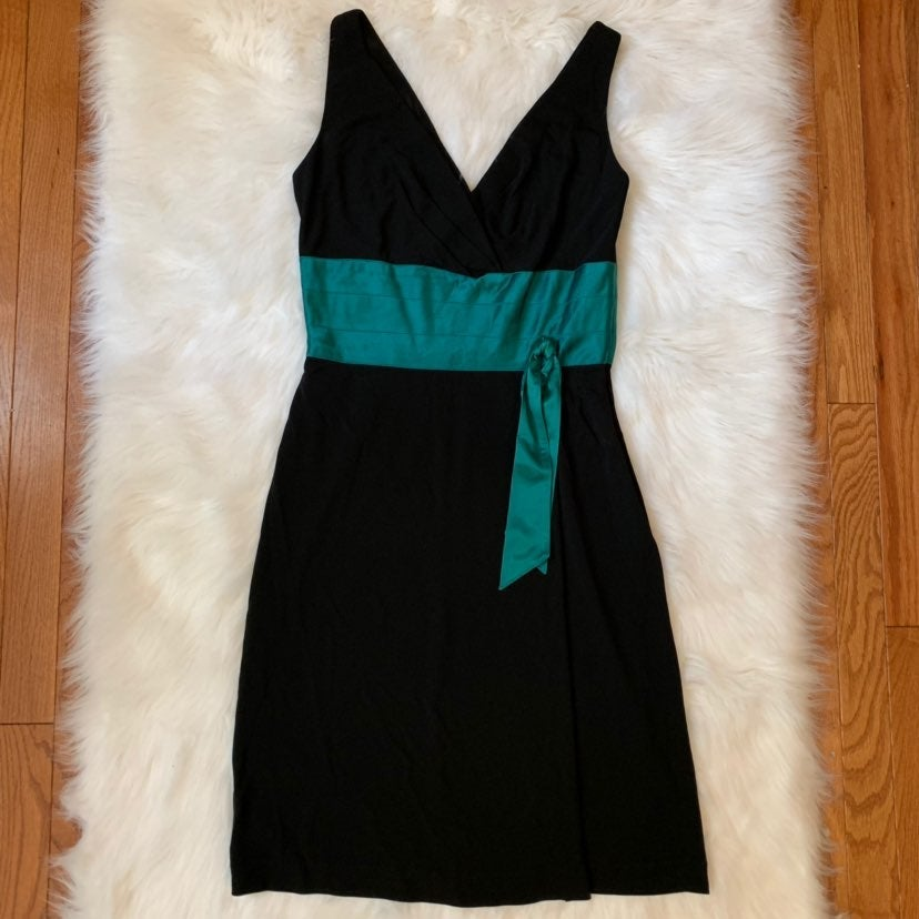 Black Dress Sleeveless Turquoise Trim