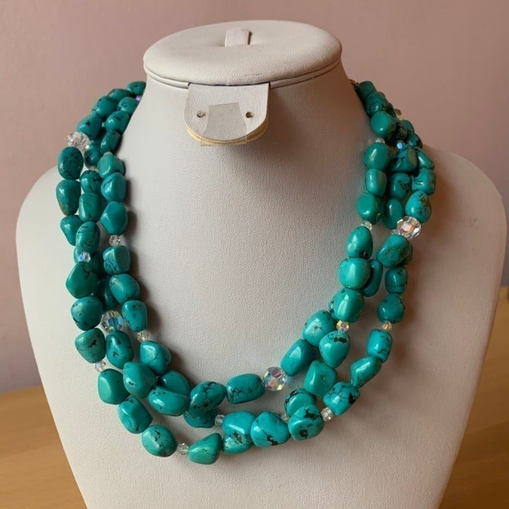 Turquoise & amethyst necklace 925 Silver