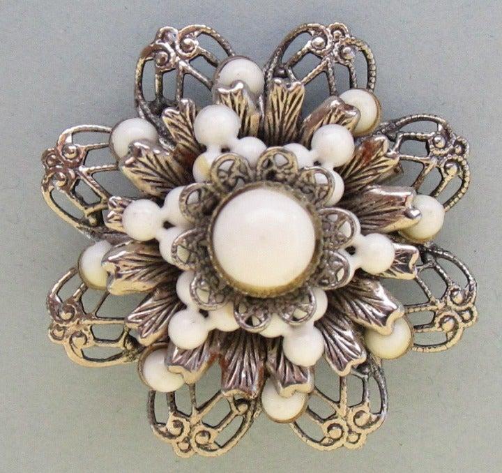 Milk Glass Bead Filigree Flower Pin