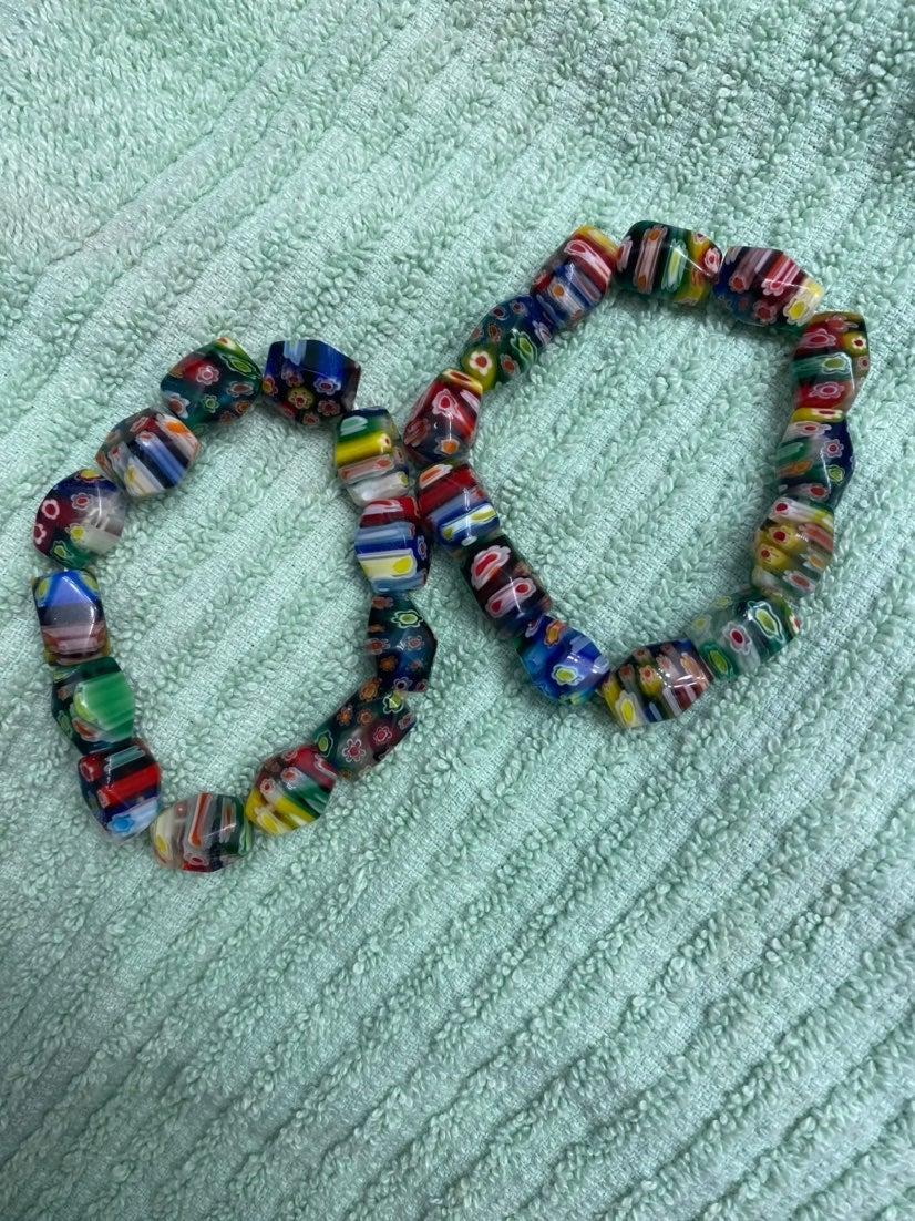 Pair of milifiori stretch Bracelets
