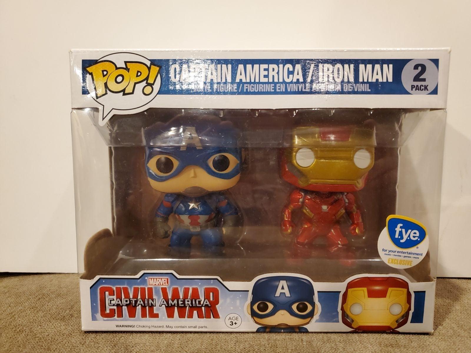 Funko Pop Iron Man and Captain America