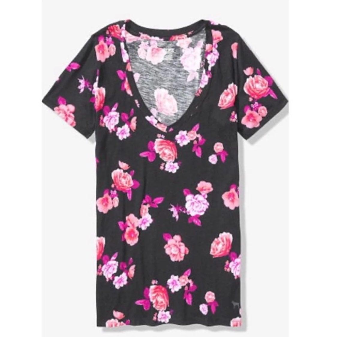 VS Pink floral v neck tee new tshirt L