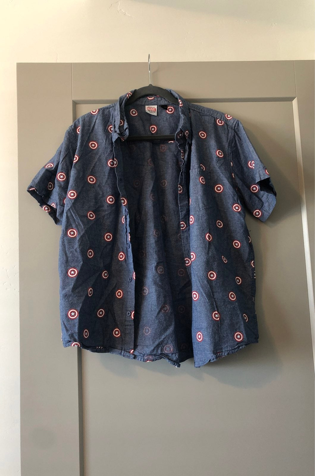 Mens Marvel Button Down