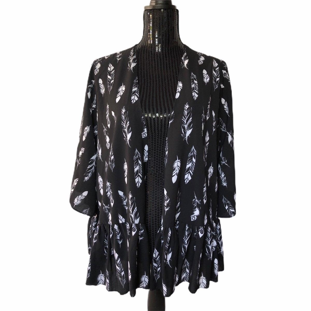 Normi 3/4 Bell Sleeve Kimono Blk/Feather