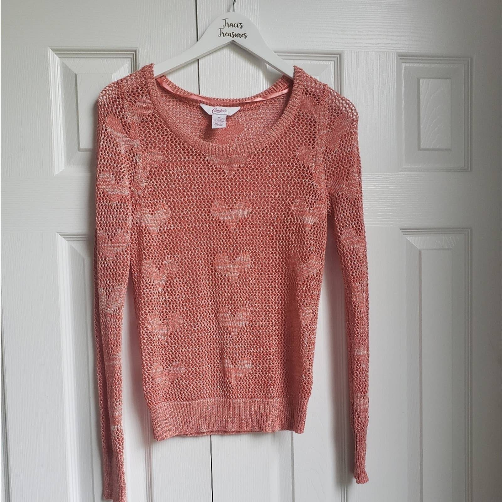 Candies Coral Eyelet Light Sweater