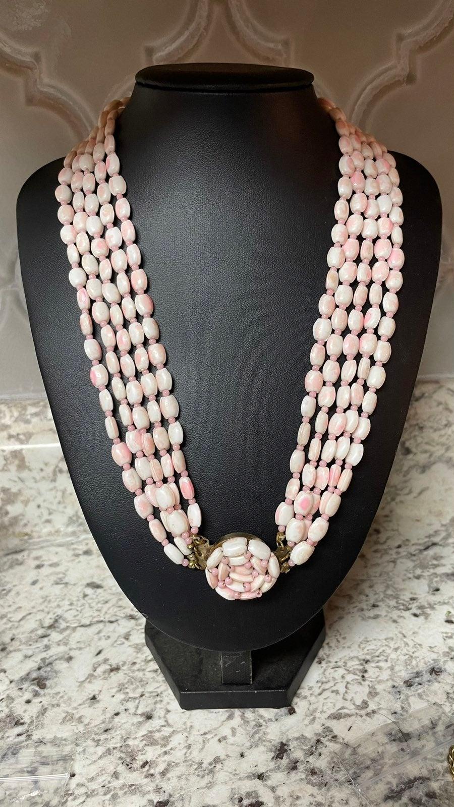Vtg. Pink Stone Necklace Japan