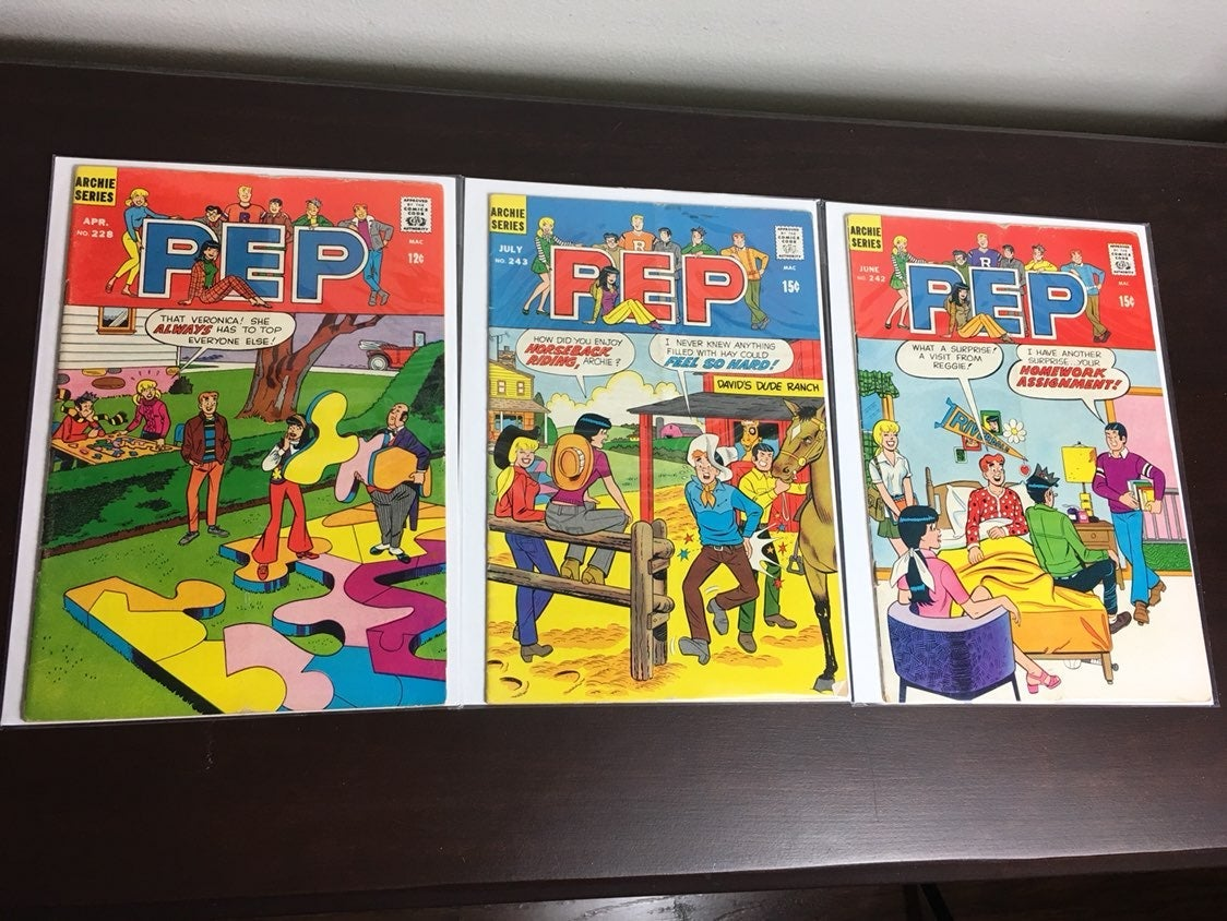 Lot of 3 Vintage Archie PEP comics