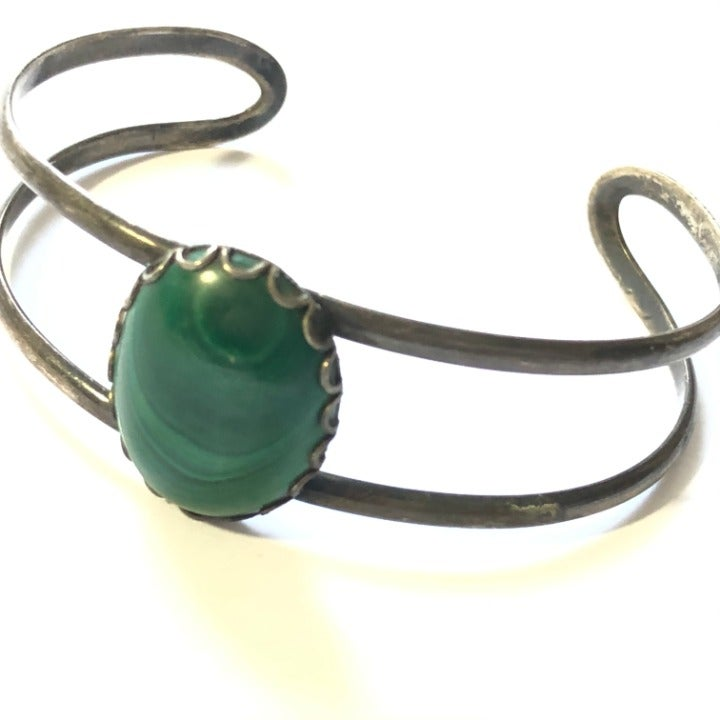 Vtg Sterling Silver & Malachite Bracelet