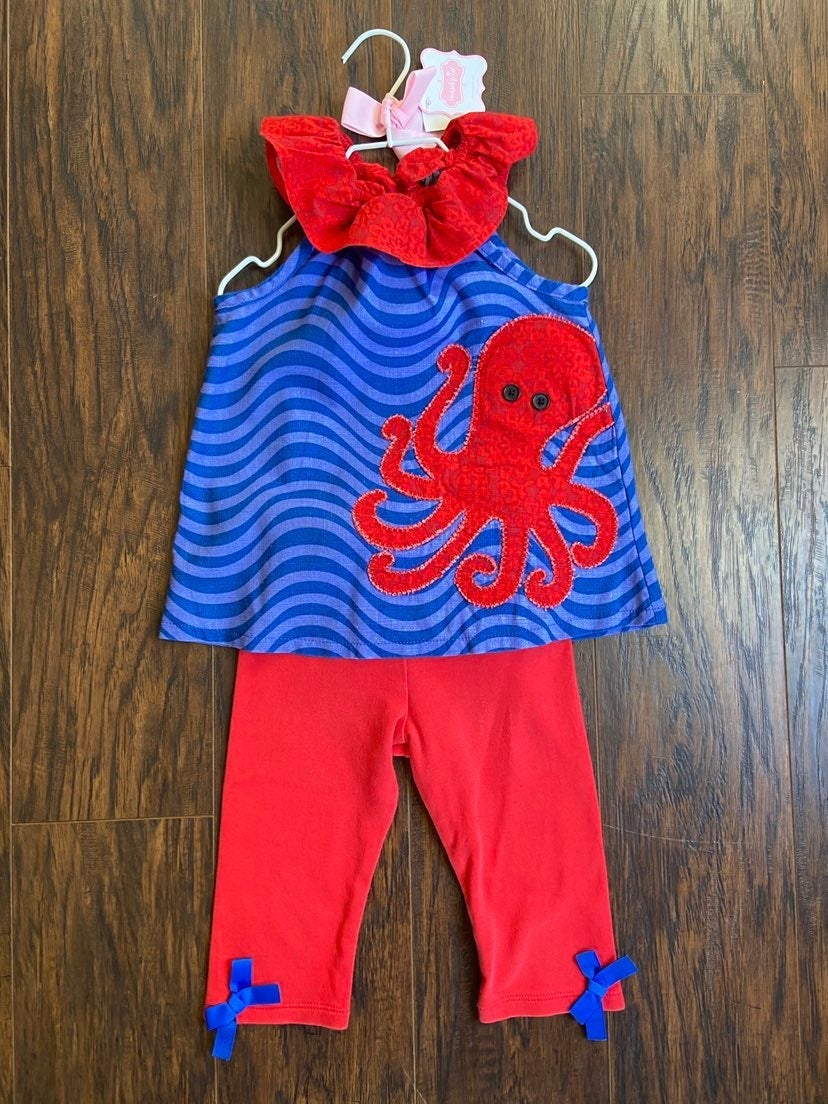 Mud Pie girls octopus outfit size 24m