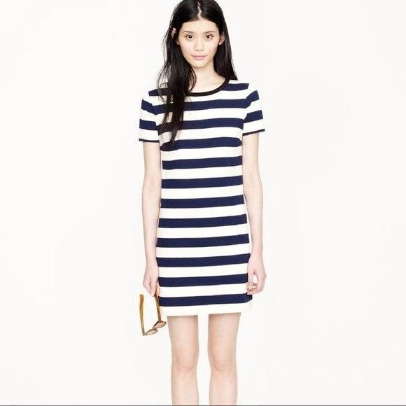 J. Crew Navy & Cream Stripe Tshirt Dress