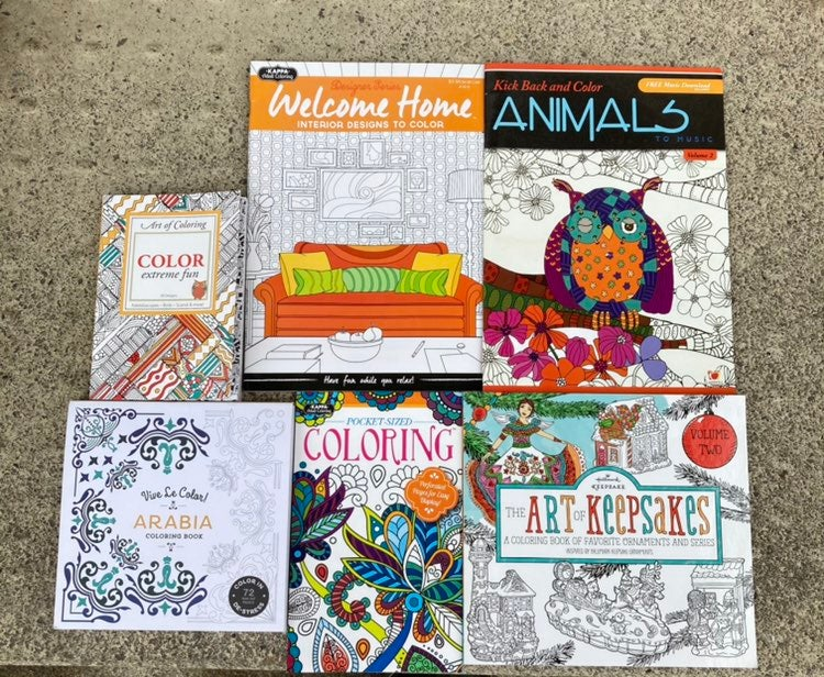 Lot of 6 Adult Coloring Books