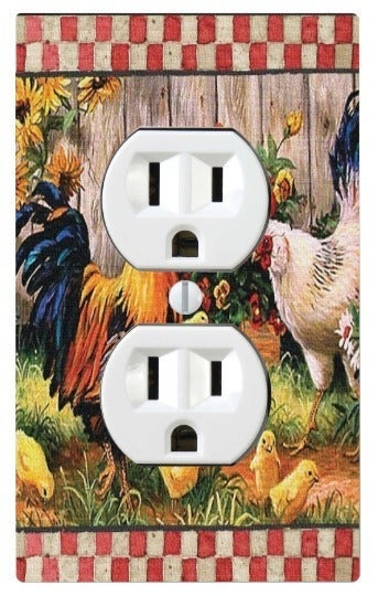 Chickens, Rooster Outlet Switch Cover