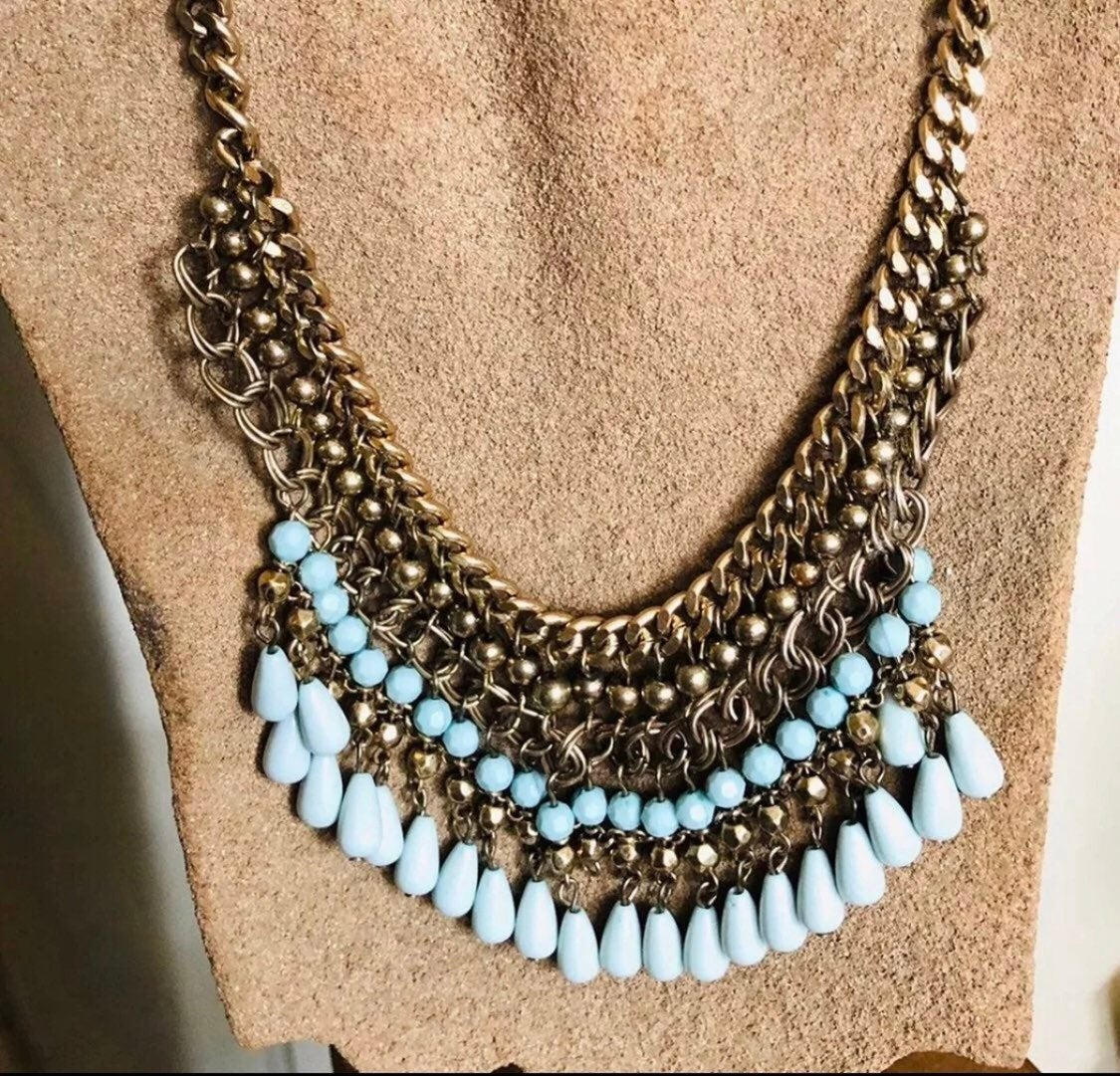 Blue statement Necklace - new