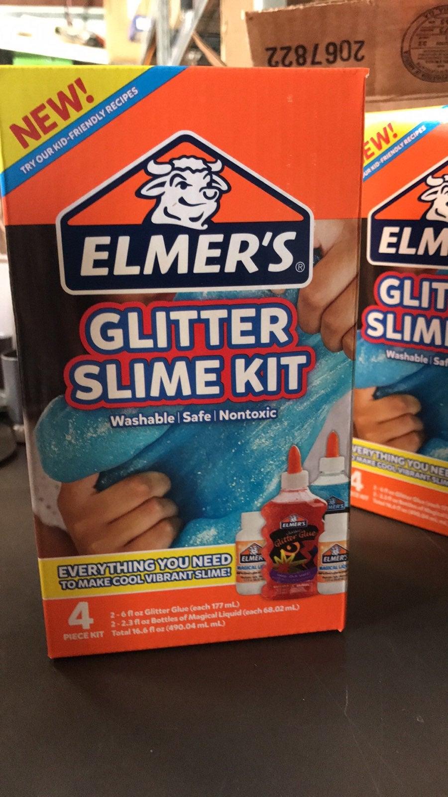 Elmer glue glitter slime kit