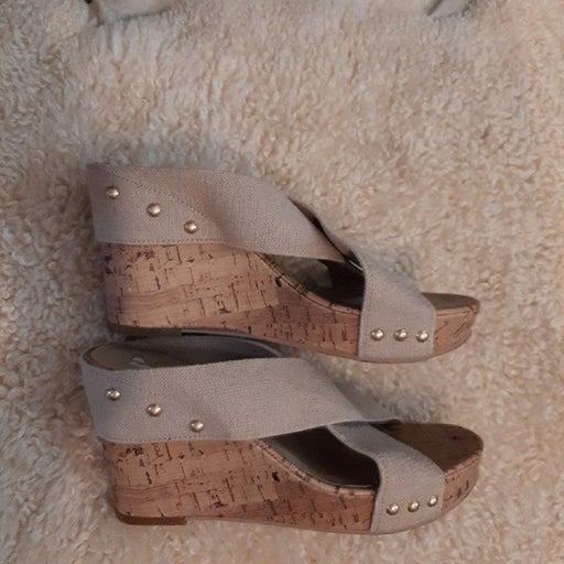 BP cork wedge sandals size 9