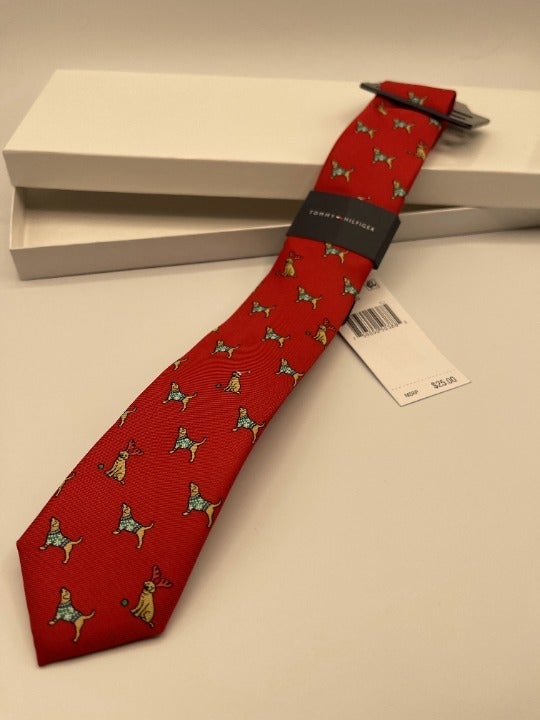 """Tommy Hilfiger - Kid's Necktie - Holiday Dogs - Red - 2"""" Width - Includes Box"""