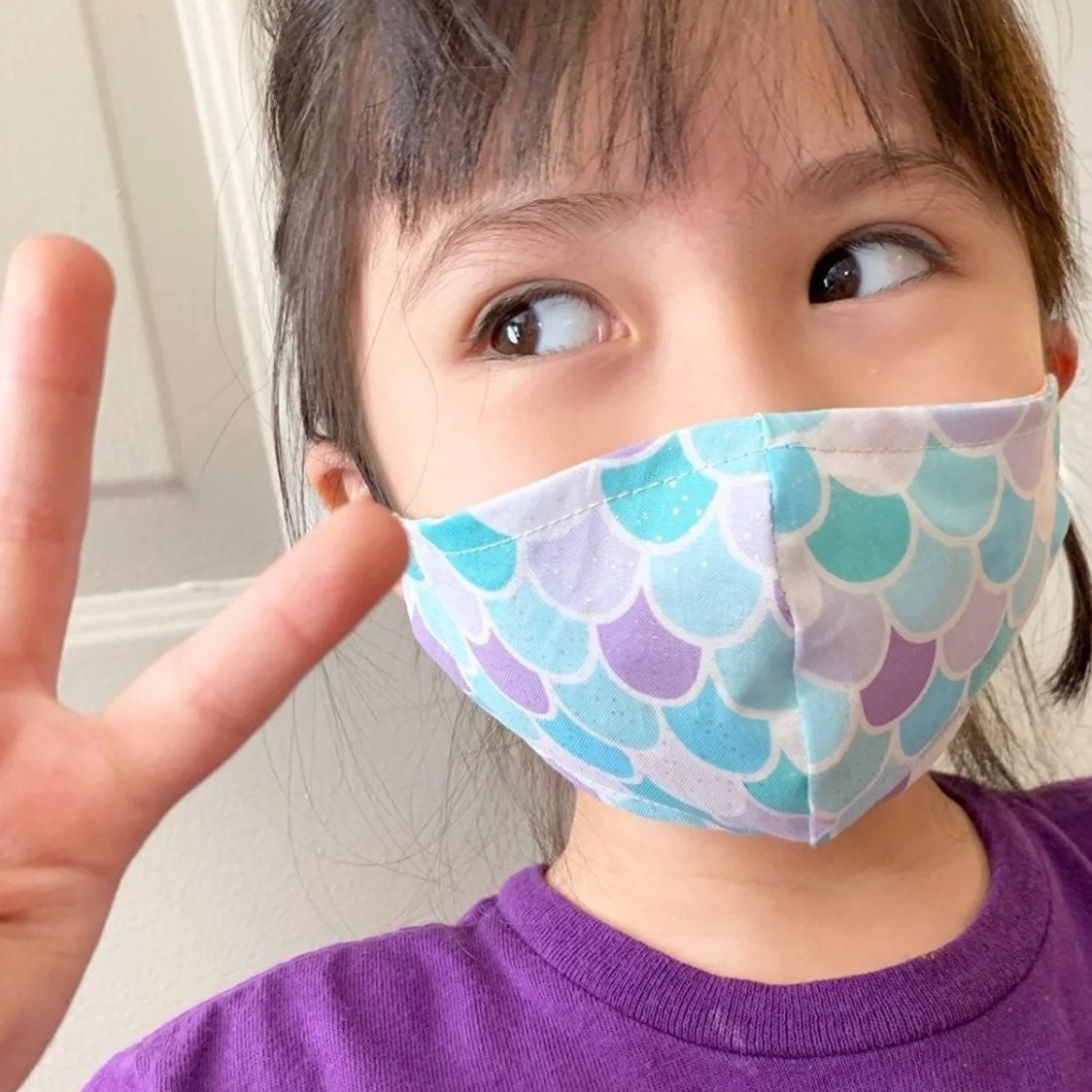 1 Kid TEAL MERMAID Handmade Face Mask