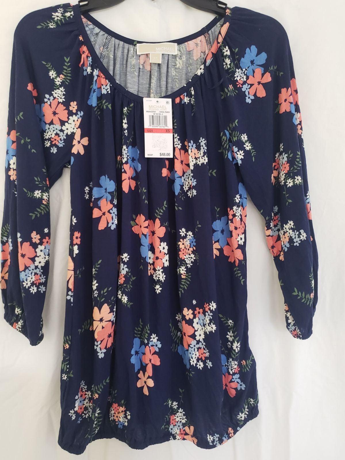 Michael kors blue floral blouse. Sz XS