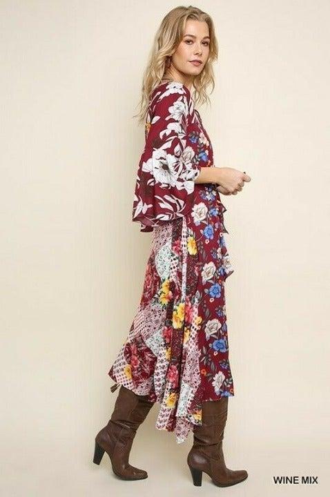 1XL UMGEE WINE Multi Maxi/Midi Dress