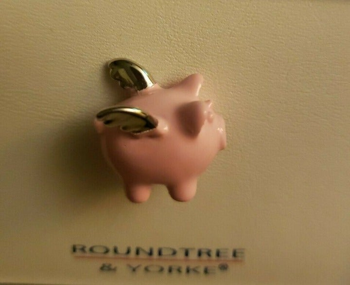 When Pigs Fly  Pink Silver Wings Tie Tac