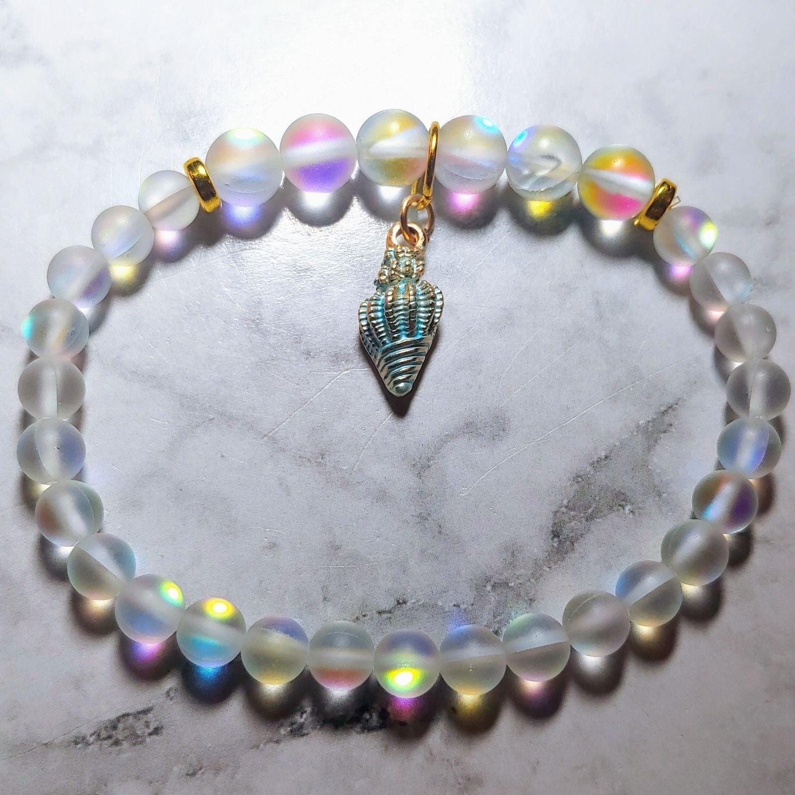 SOLD***Moonstone opal glass mermaid brac