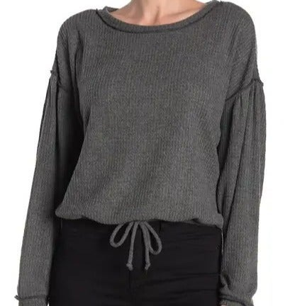 SOCIALITE Waffle Knit Sweater gray Sz XS
