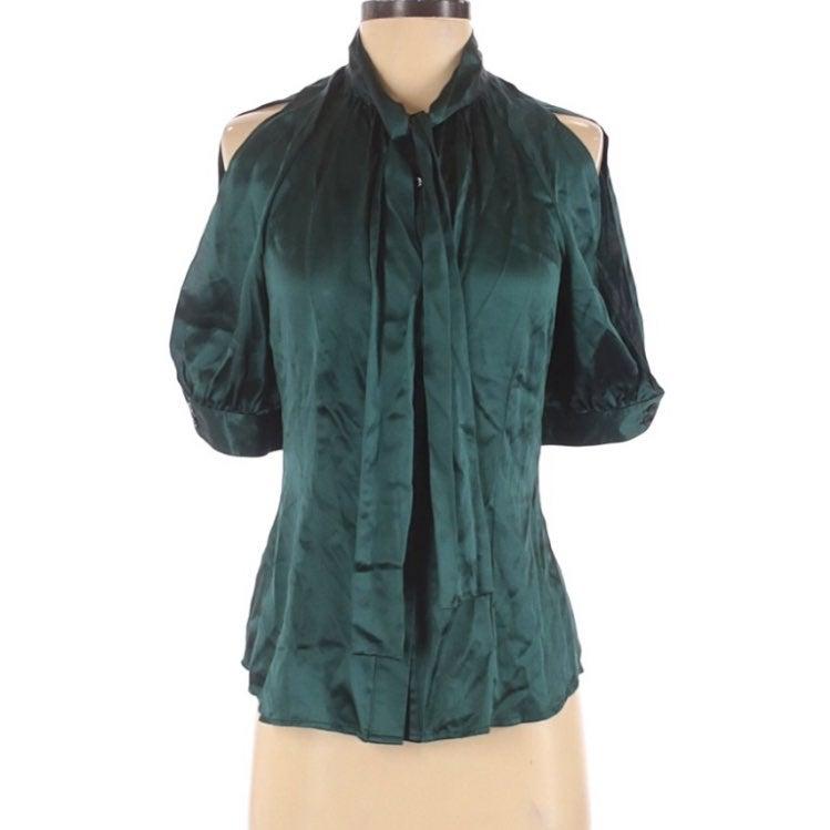 BCBG Silk Blouse Green Cold sleeve