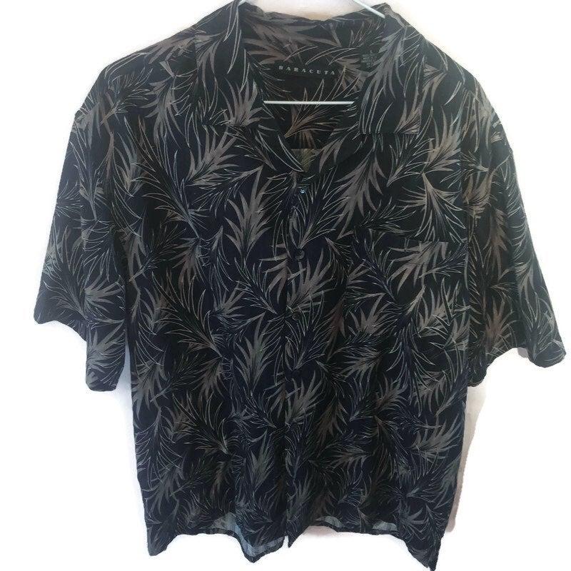 baracuta Mens Hawaiian Style Shirt Sz Lg