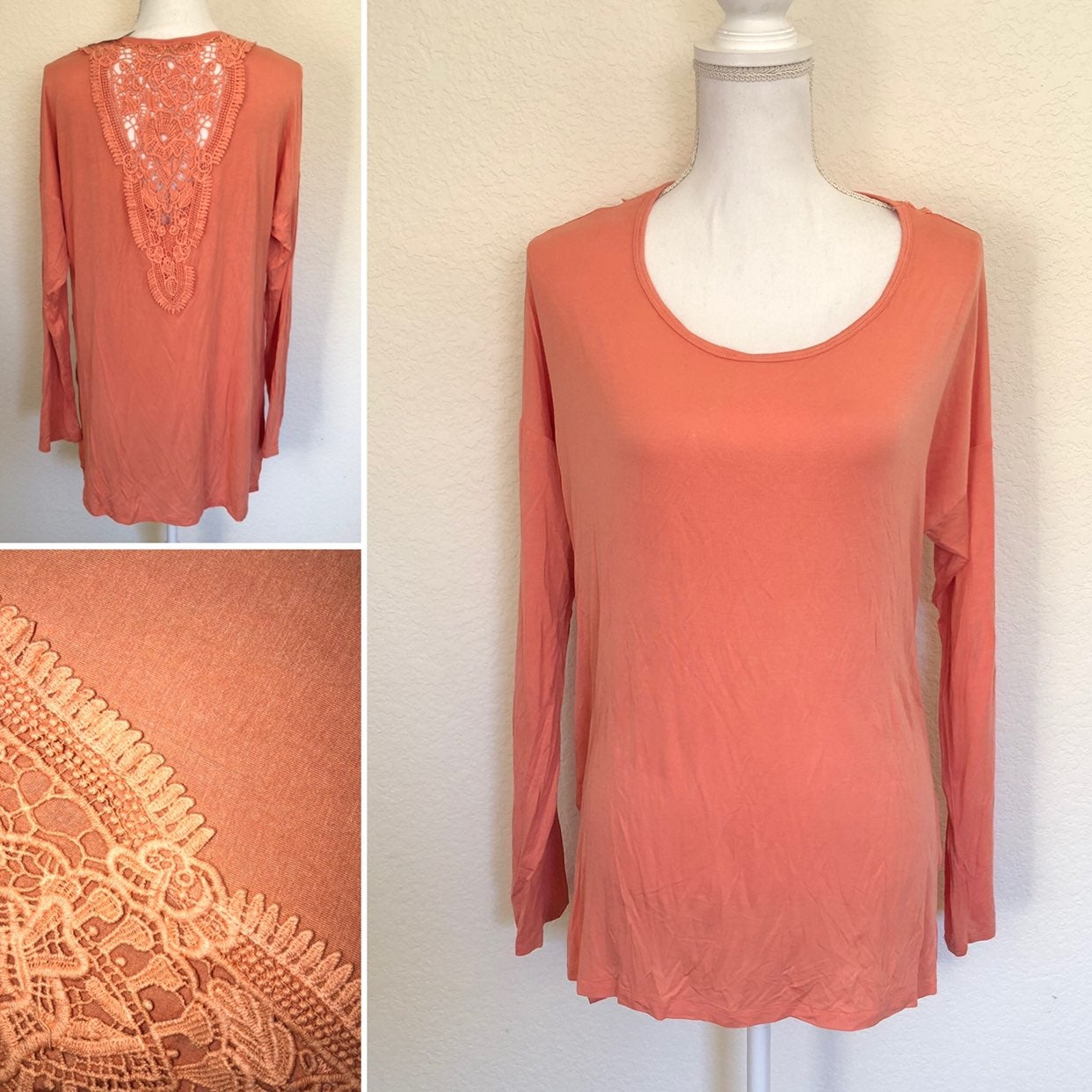 Taylor & Sage Peach Lace Knit Top