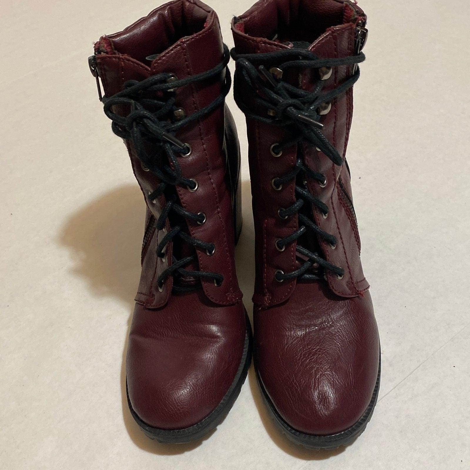 Justfab Darma burgandy combat boots