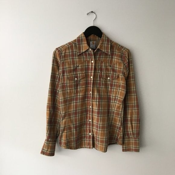 Carhartt Button Up Shirt Plaid Brown XS