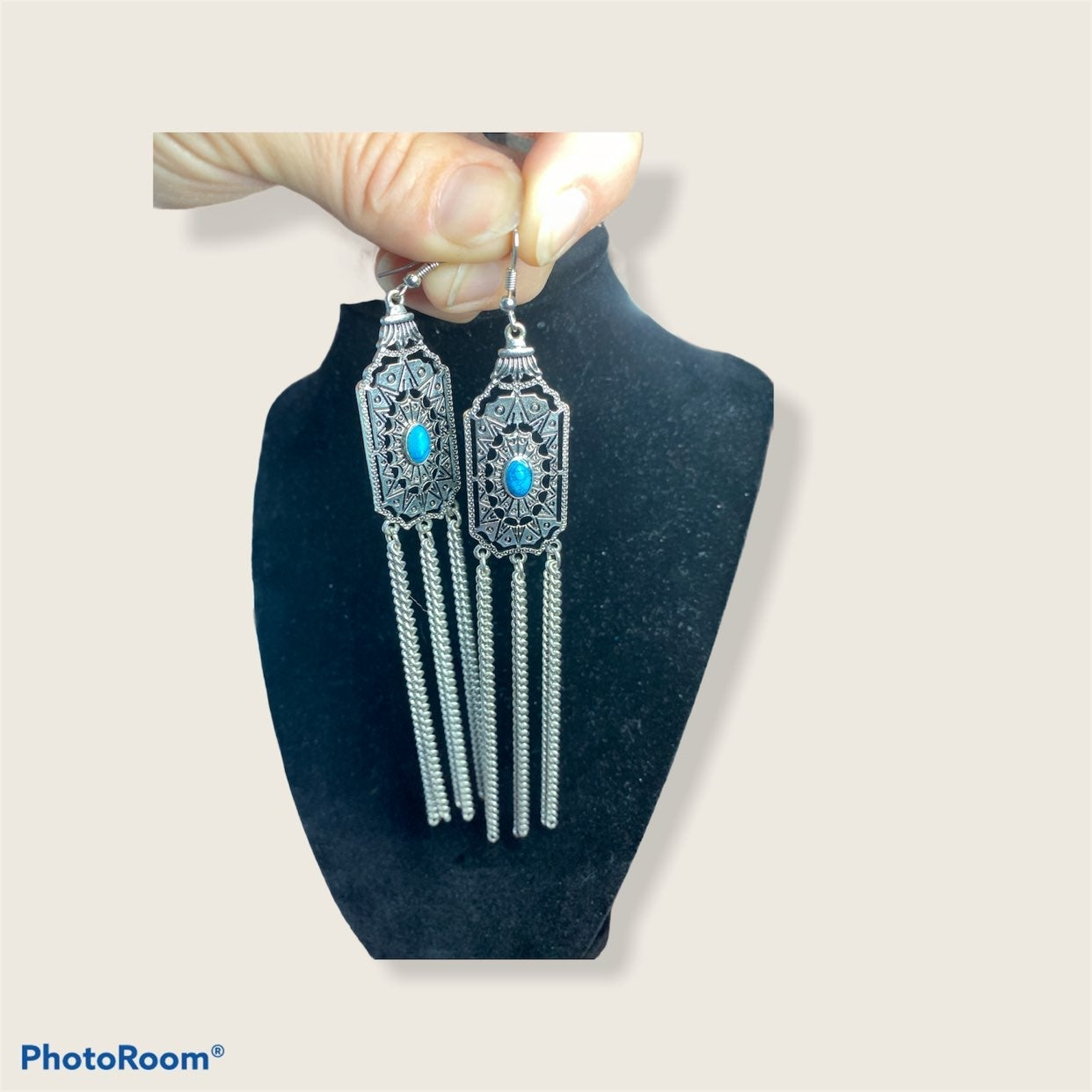 Turquoise Costume Silver Drop Earrings