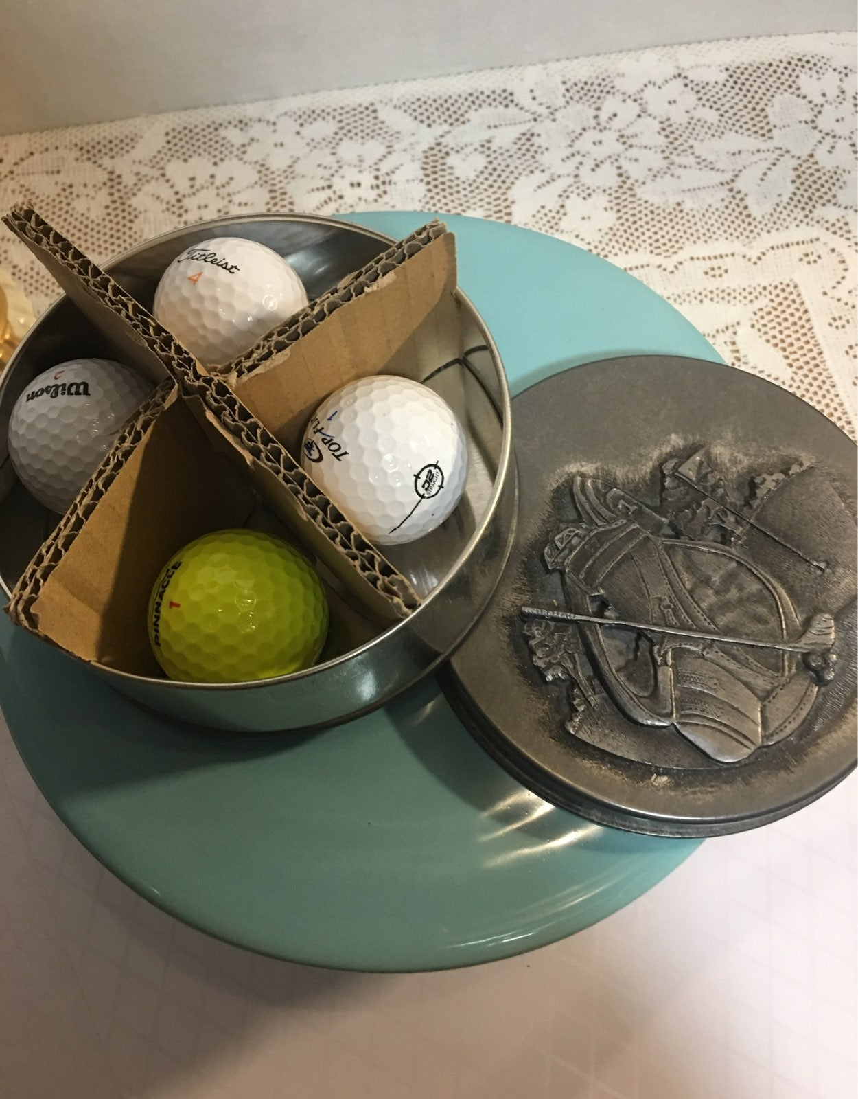 Metzke Pewter Trinket Tin w/ golf balls