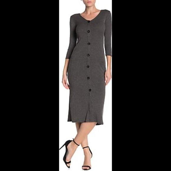 Velvet Torch dress gray midi NWT X-Small