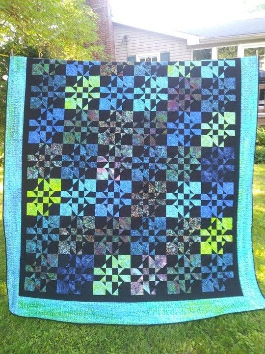 Teal, Black & Blue Bed Quilt