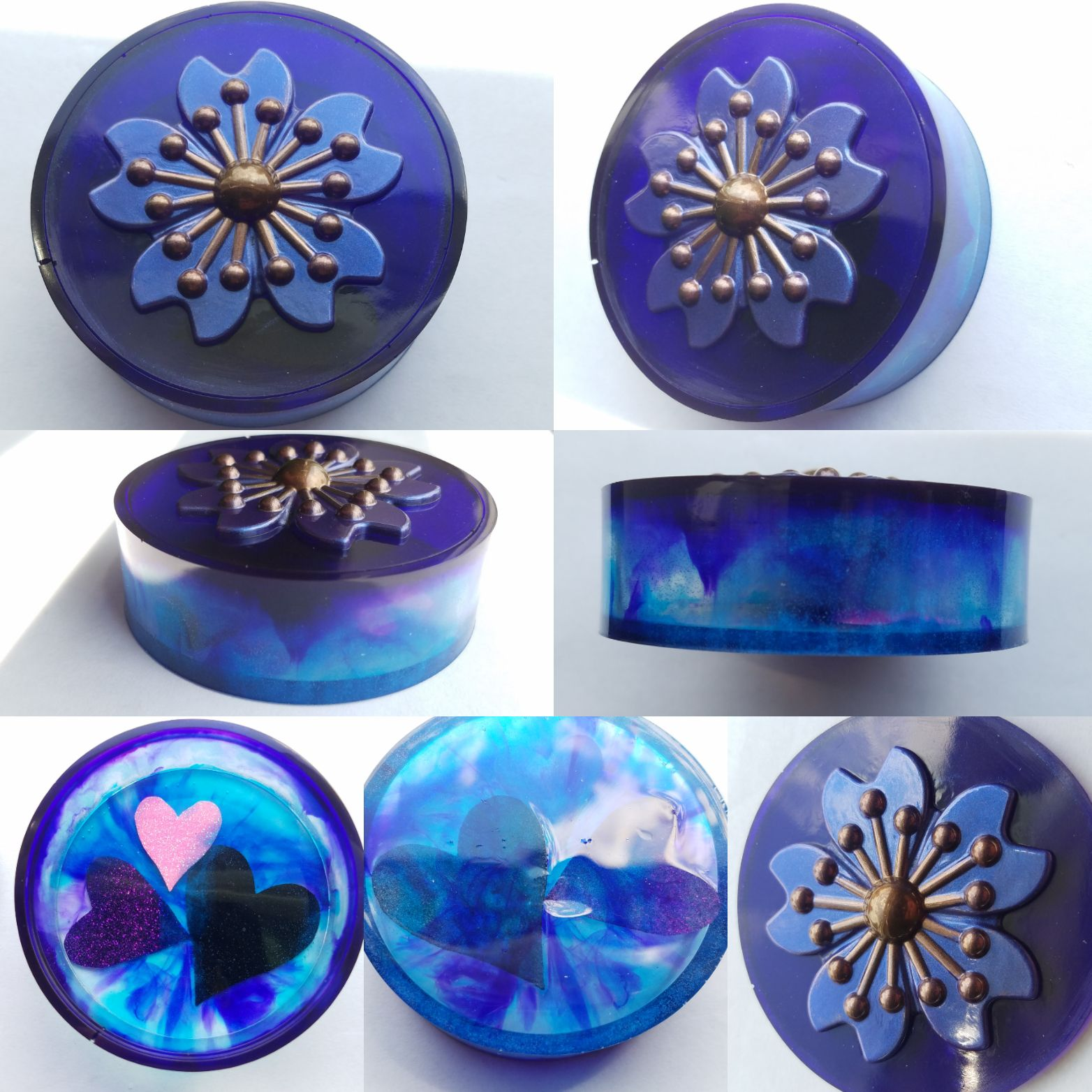 Purple and Blue resin container with flo