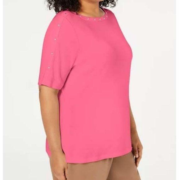 NWT Karen Scott Plus Size 1X Studded Top