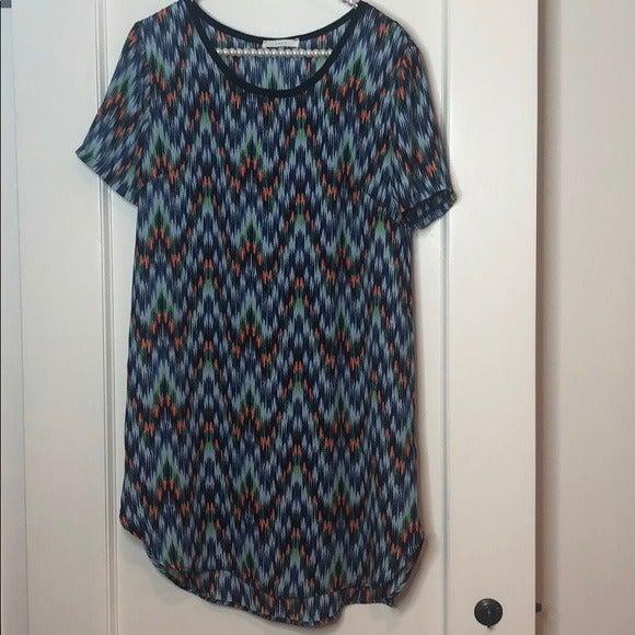 Lush Blue Short Sleeve Shift Dress