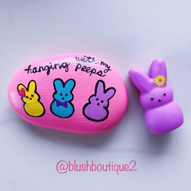 Hand painted peeps purple Easter rock