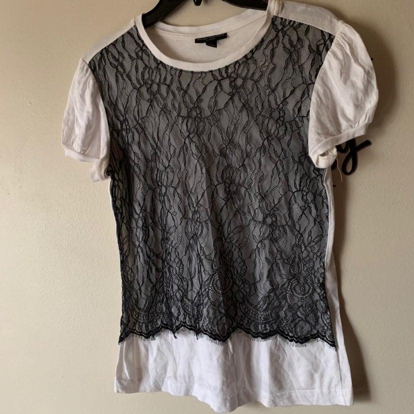 lace front white blouse