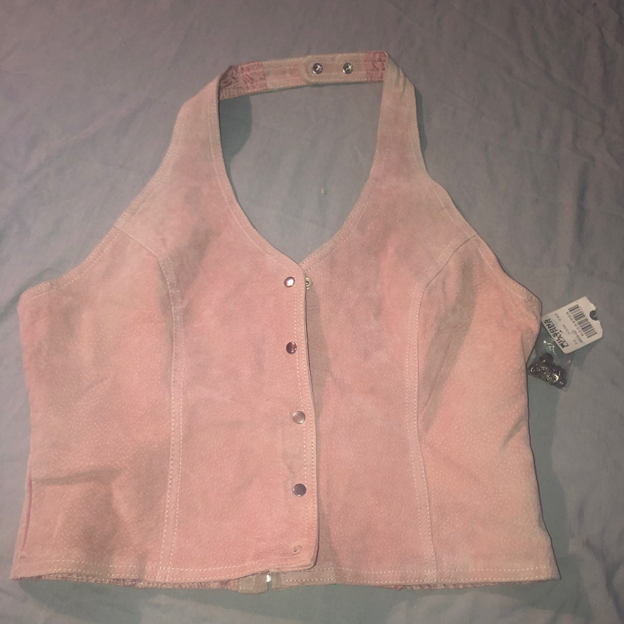 WILSON LEATHERS pink suede vest shirt