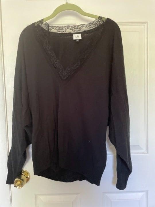 Cabi  Black, Lace V Neck Union Sweater M