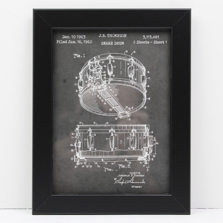 Snare Drum Patent Print 5x7 Black Framed