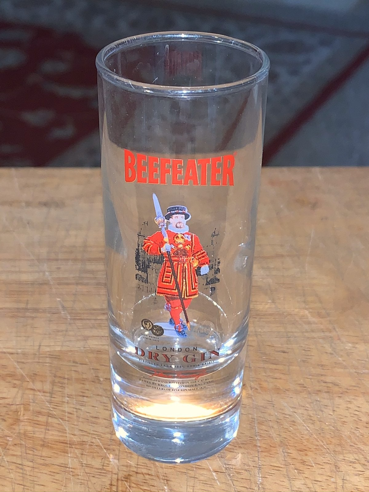 BEEFEATER DRY GIN SHOT GLASS TALL