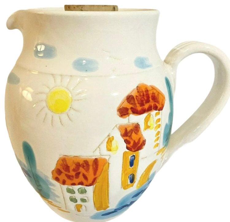 French Porcelain Pitcher Eze Village