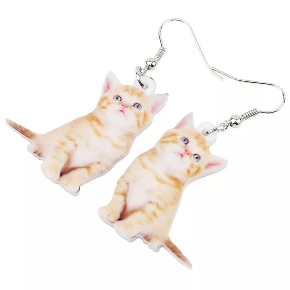 Acrylic Tabby Orange Cat Earrings