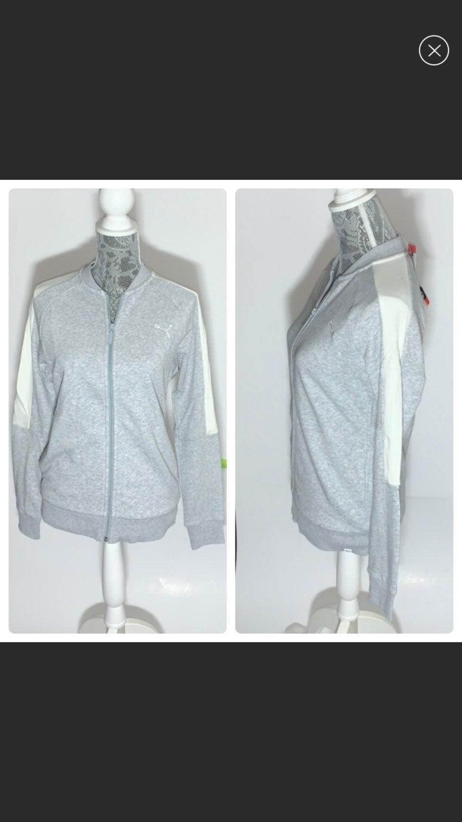 Puma Gray And White Zip Up Sweatshirt