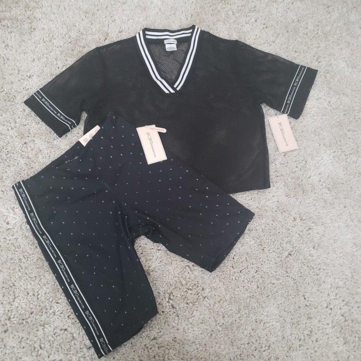BCBG activewear set (M) mesh top, shorts